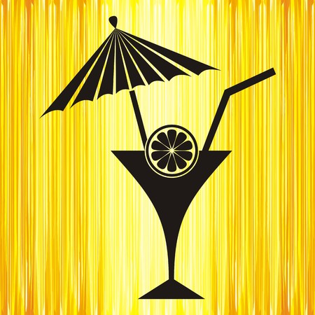 cartoon palm tree: summer yellow background with cocktail and lemon
