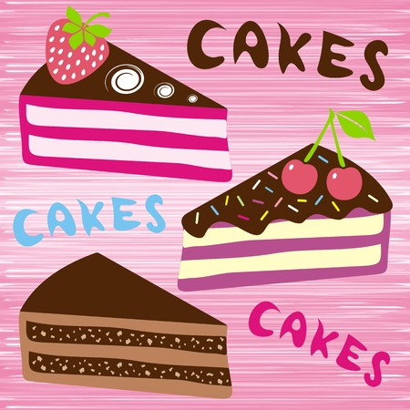 three slices of cake with fruit on pink background Stock Vector - 22542070