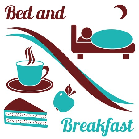 breakfast in bed: Brown and turquoise bed and breakfast with text on white background