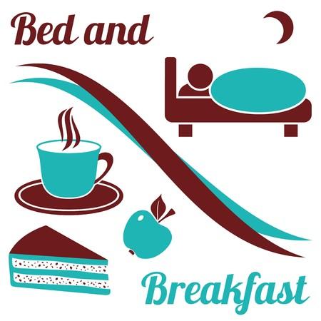Cama y desayuno con el texto sobre fondo blanco Brown y turquesa