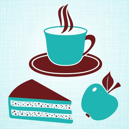confectioner: Brown and turquoise breakfast menu on light turquoise vintage background Illustration
