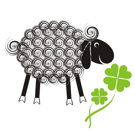 Little cute sheep with black head and wool spirals with quatrefoil Stock Vector - 22542060