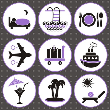 Set of black and violet travelling and accommodation icons on grey background Illustration