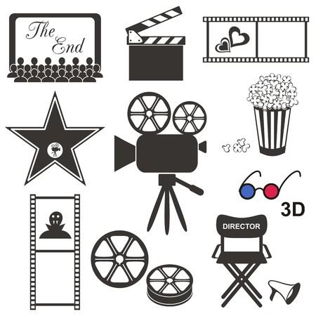 Set of black movie icons on white background Vector