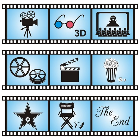walk of fame: Set of nine movie icons in blue film stripes Illustration