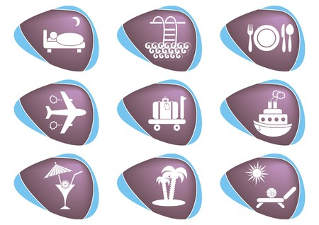 Set of nine white travelling and accommodation icons on stone-like background Stock Vector - 22542190