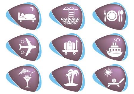 Set of nine white travelling and accommodation icons on stone-like background Stock Vector - 22542190