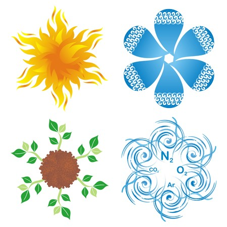 Set of round blossom-like symbols of four elements, earth, water, air and fire
