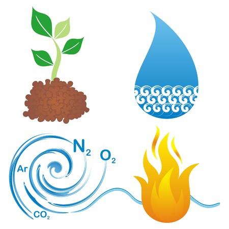 네 가지 요소, 지구, 물, 공기, 불을 상징 세트