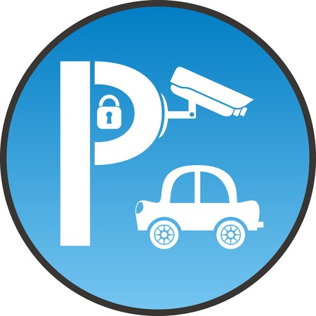 guarded: Symbol of guarded parking with car, padlock and security camera