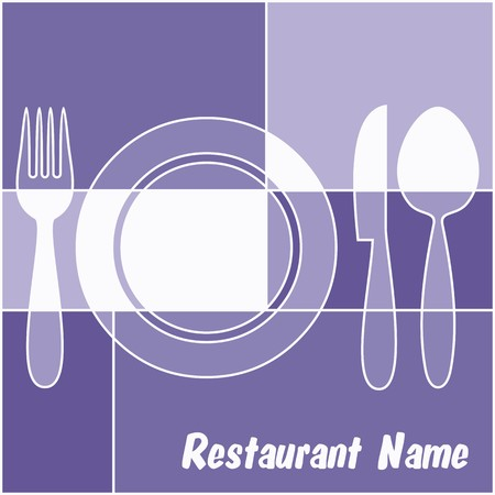 White and blue restaurant menu with fork, plate, knife and spoon