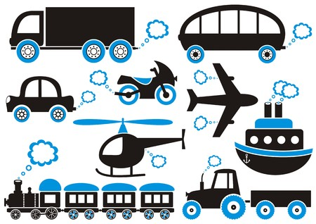 fumes: Black and blue means of transport icons. Easy to change color Illustration