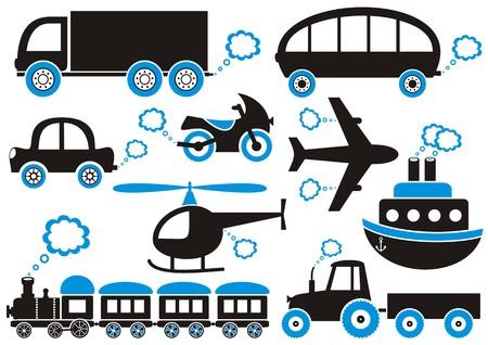 Medios negras y azules de iconos de transporte. Fácil de cambiar de color