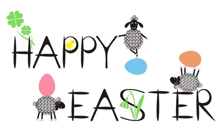 Happy easter text with funny lambs, eggs, chicken, quatrefoil and snowdrop Stock Vector - 22560282
