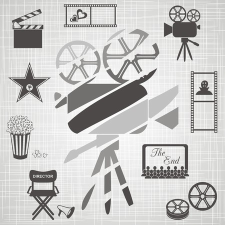 Old black and white movie camera with movie icons on retro background