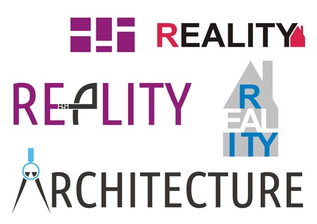 Reality and architecture with text on white background