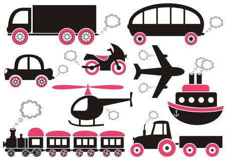 puffing: Red, black and grey means of transport icons. Easy to change color