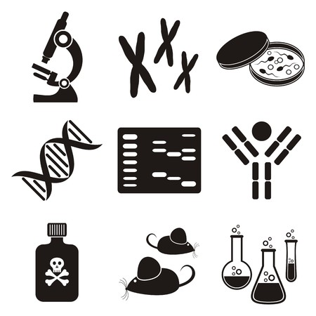 biologia molecular: conjunto de iconos de la ciencia de biolog�a molecular en blanco y negro Vectores