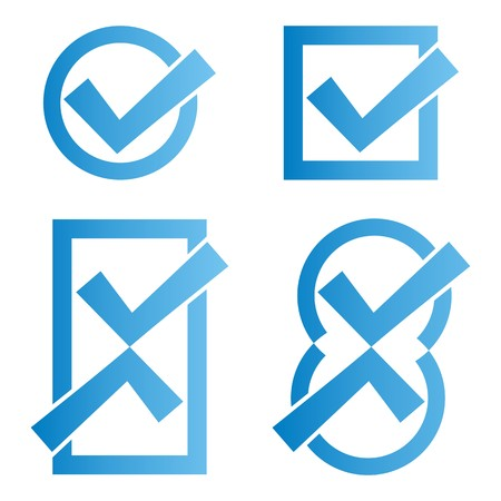 Set of four blue tick icons on white background