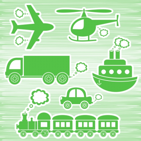 loco: set of green transport icons on green background Illustration