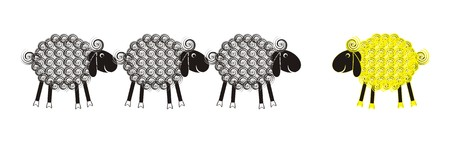 Set of grey and yellow cute lambs with black heads and wool spirals