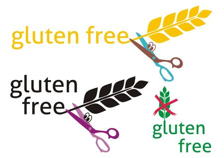 Set of three gluten-free symbols on white background Vector