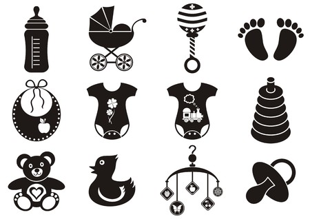 Set of twelve black and white baby boy and girl icons Vector