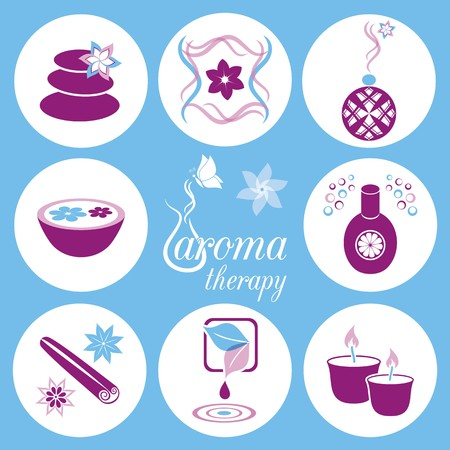 Set of violet and blue aromatherapy icons on light blue background Vector