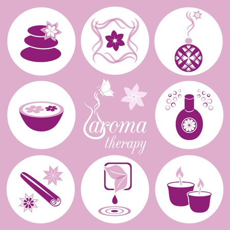 Set of violet aromatherapy icons on light violet background Vector