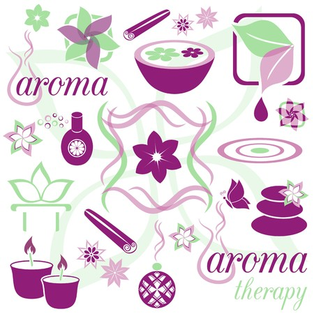Set of violet and green aromatherapy icons Vector
