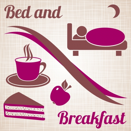 breakfast in bed: Wine-coloured bed and breakfast menu with text on light brown vintage background Illustration