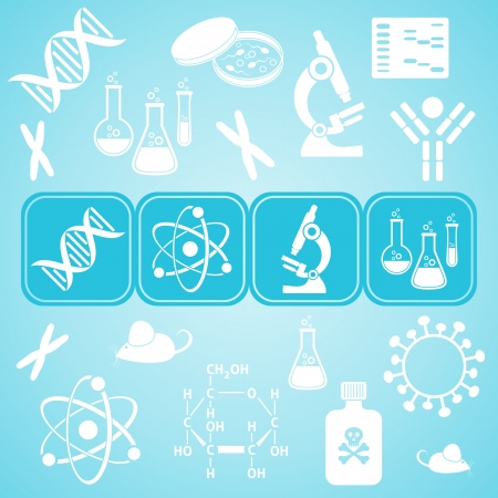 petri: Turquoise card with white molecular biology science icons