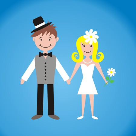 Cute bride and groom on blue background