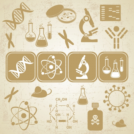 Grunge golden-brown card with molecular biology science icons Ilustracja