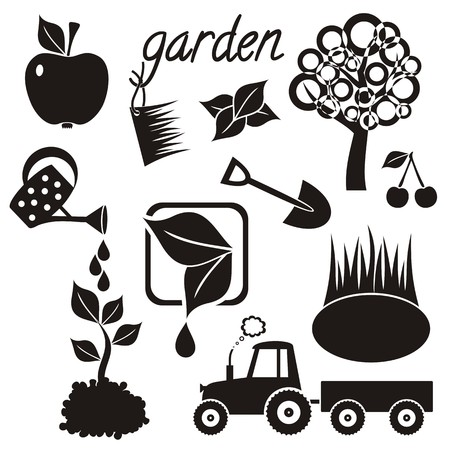 Gardening icons with tree, apple, cherry, small lake, watering can, plants, spade and tractor Illustration