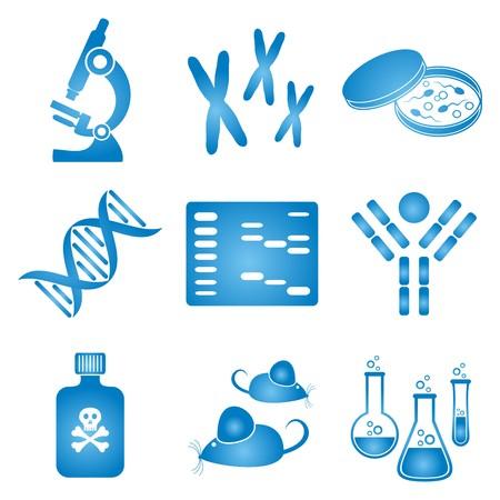 biologia molecular: conjunto de iconos de la ciencia de biolog�a molecular azul y blanco