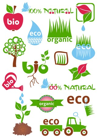 Set of colorful bio and eco icons and symbols Vector