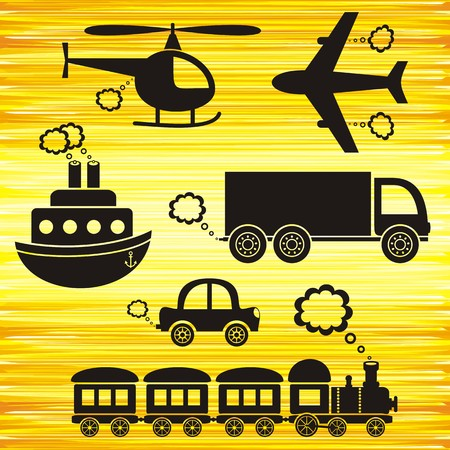 puffing: set of black transport icons on yellow background