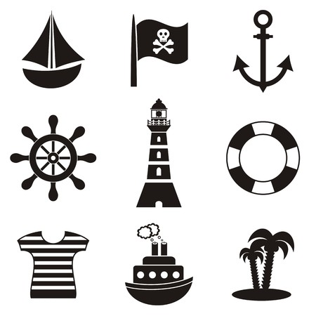 rudder ship: set of black pirates and sailors icons on white background