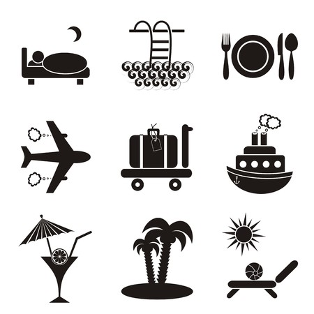 Set of nine black travelling and accommodation icons on stone-like background Stock Vector - 22560486