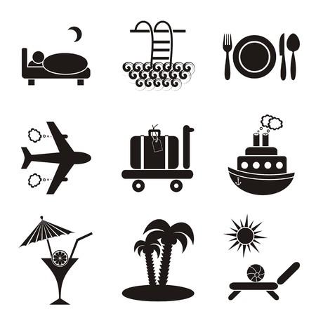 overnight: Set of nine black travelling and accommodation icons on stone-like background Illustration