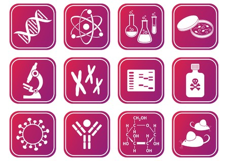 biologia molecular: conjunto de iconos de la ciencia de biolog�a molecular rojo-violeta