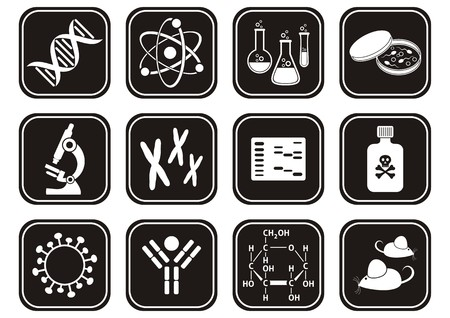 set of black and white molecular biology science icons Vector