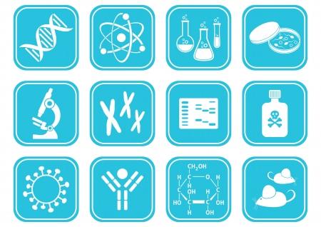 biologia molecular: conjunto de iconos de la ciencia de biolog�a molecular blancas