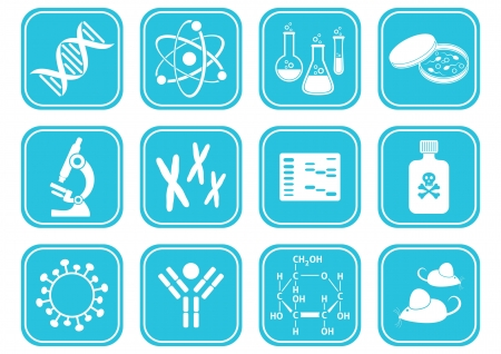 set of white molecular biology science icons Vector