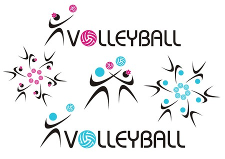 volleyball girl: Volleyball icons woman and man, pink and blue Illustration