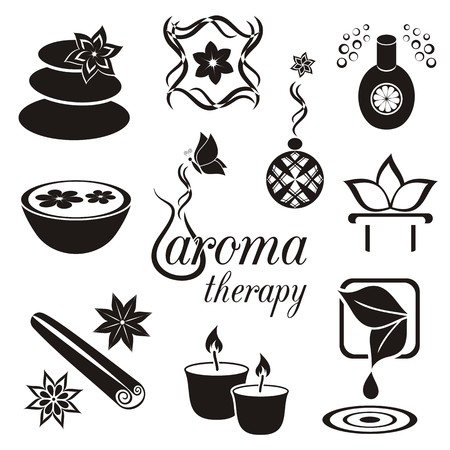 Set of black aromatherapy icons Vector