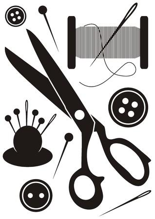 裁縫ツール アイコン黒と白のセット