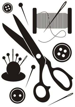 set of sewing tools icons black and white