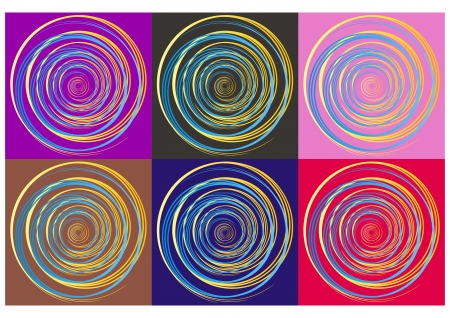 Blue and yellow gradient spiral on six different colorful backgrounds